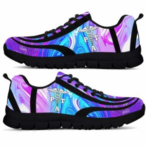 SS-U-Nur-LineAb1002-PTA-24 @ Line Abstract PTA-Pta Sneakers Gym Running Shoes, Gift For Women And Men. Blue Purple Wave Custom Personalized Shoes.