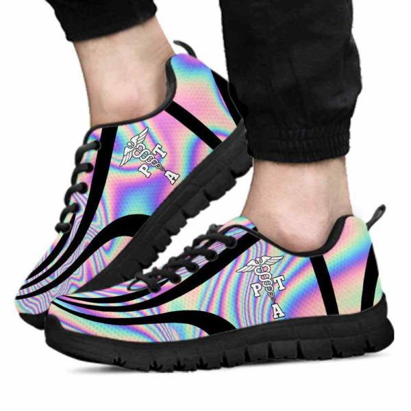 SS-U-Nur-LineAb1004-PTA-18 @ Line Abstract PTA-Pta Sneakers Gym Running Shoes, Gift For Women And Men. Rainbow Color Gradient Custom Personalized Shoes.