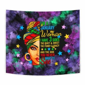 TPT-U-Age-120-Jan-1 @ Age January-January Woman, January Girl, January Queen Wall Hanging Tapestry. Custom Tapestry Art Print Birthday Gift For Women Born In January.