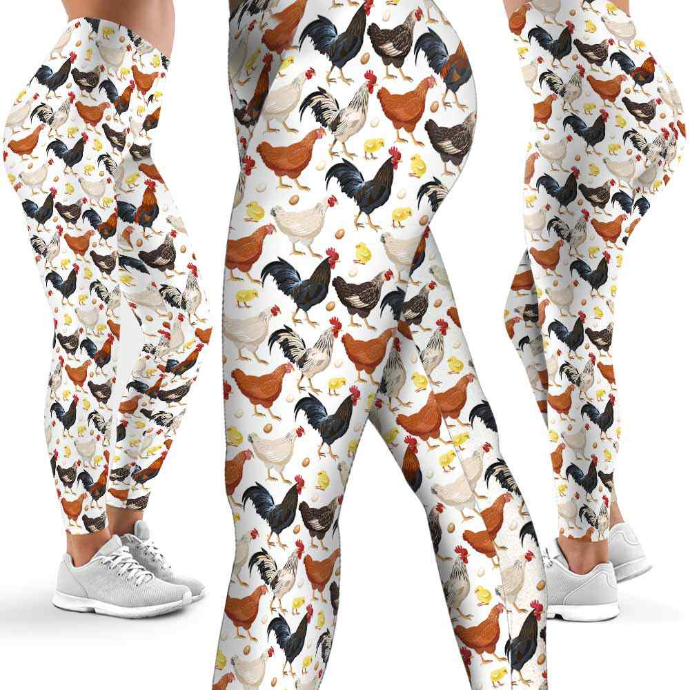 LEGG-W-Ani-Cikn-ChicPtn-0 @ Chicken Watercolor Pattern-Chicken Leggings For Women. Kawaii Chicken Pattern Printed Leggings. Cute Chicken Women Leggings. Yoga Workout Leggings. Custom Leggings.