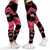 LEGG-W-Ani-WateFlamFlwr-Flmg-0 @ Pink Flamingo Watercolor-Flamingo Leggings For Women. Pink Flamingo Watercolor Flamingo Pattern Printed Leggings. Women Leggings. Yoga Workout Custom Leggings Gift.