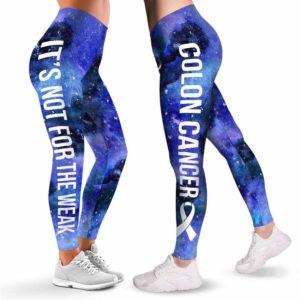 LEGG-W-Awa-ColoCancWate-ColCan-3 @ Colon Cancer Warrior NFTW-Colon Cancer Colorectal Cancer Awareness Ribbon Leggings For Women. Women Leggings. Custom Gift For Survivor Warrior. Not For The Weak.