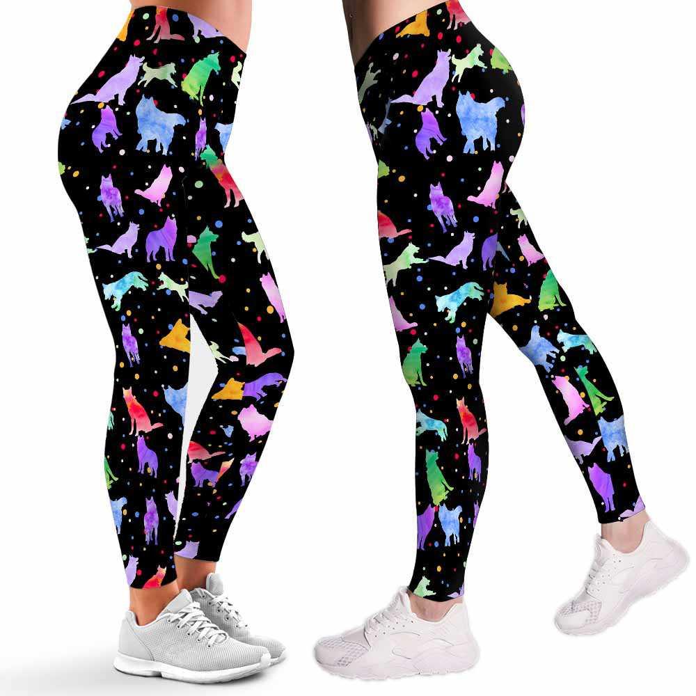 LEGG-W-Dog-Husky-WateDotPtn-0 @ Watercolor Dot Pattern-Husky Leggings For Women. Kawaii Husky Pattern Printed Leggings. Cute Husky Women Leggings. Yoga Workout Leggings. Custom Leggings.