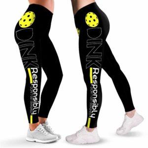 LEGG-W-Hobb-DinkResp-Pklb-1 @ Pickleball Dink Responsibly-Pickleball Leggings For Women. Pickleball Dink Responsibly Pattern Printed Women Leggings. Yoga Workout Custom Personalized Gift.