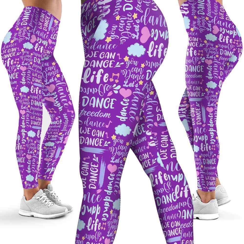 LEGG-W-Hobb-Dnce-DancLiveLoveLife-0 @ Dance Live Love Life-Dancer Leggings For Women. Dancer Pattern Printed Leggings. Cute Dancer Women Leggings. Yoga Workout Leggings. Custom Leggings.