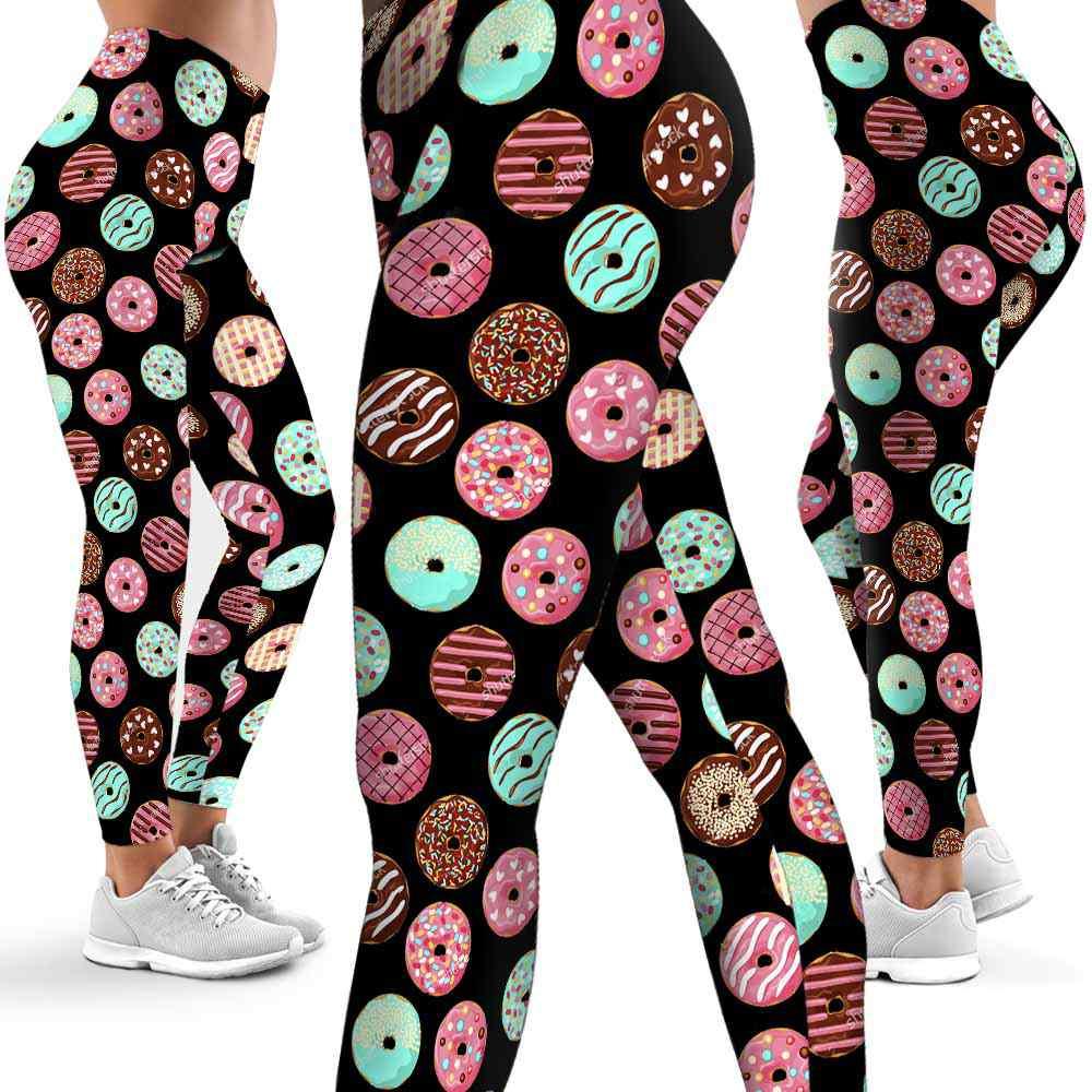 LEGG-W-Hobb-Dnut-Ptn-0 @ Colorful Donuts-Donut Leggings For Women. Donut Pattern Printed Leggings. Cute Donut Women Leggings. Yoga Workout Leggings. Custom Leggings.