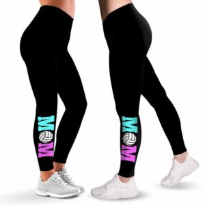 LEGG-W-Hobb-VollMom-Vlbl-1 @ Volleyball Mom-Volleyball Leggings For Women. Volleyball Mom Pattern Printed Women Leggings. Yoga Workout Custom Personalized Gift.