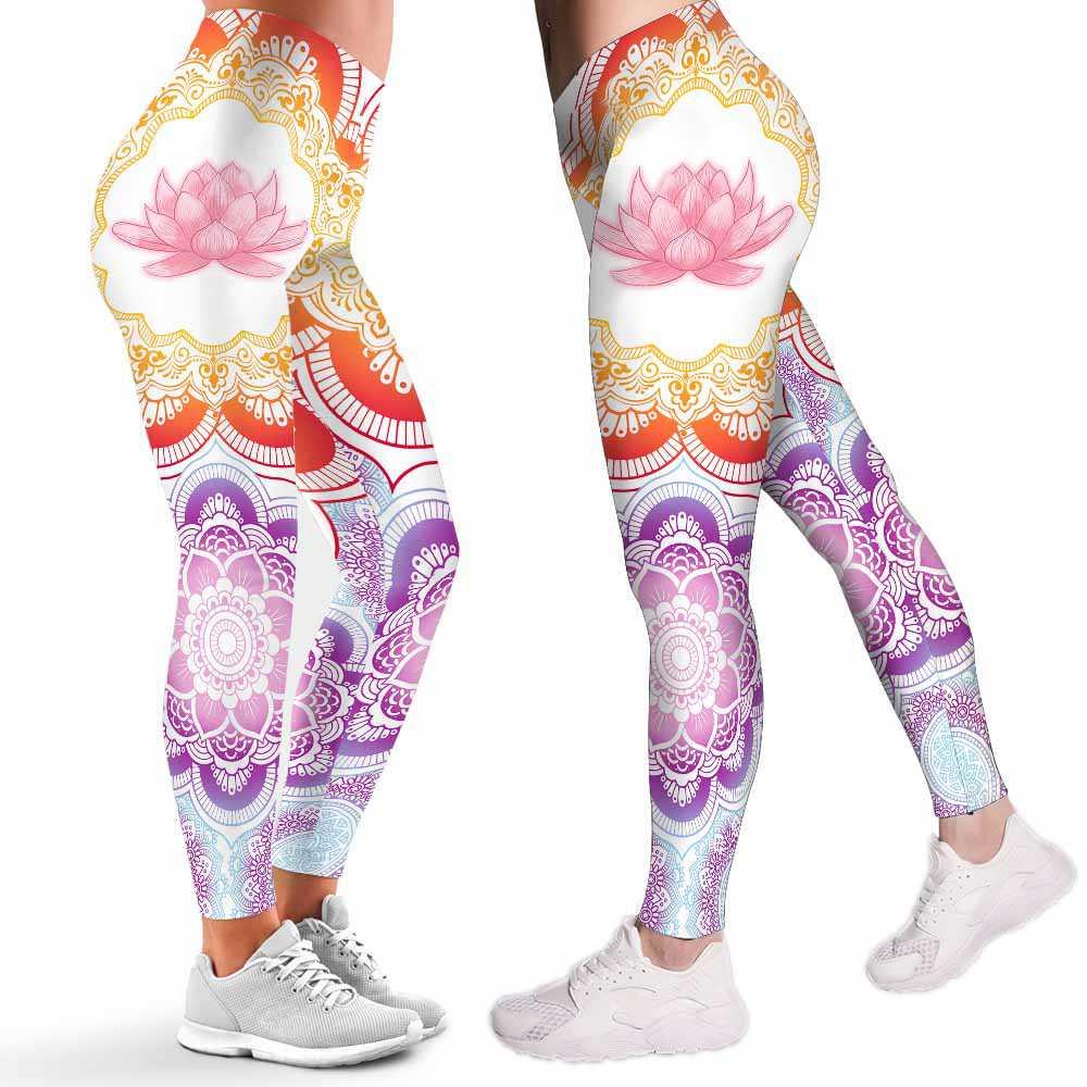 LEGG-W-Hobb-Yoga-Mdl-0 @ Lotus Gradient Mandala-Yoga Leggings For Women. Mandala Lotus Pattern Printed Leggings. Cute Yoga Women Leggings. Yoga Workout Leggings. Custom Leggings.