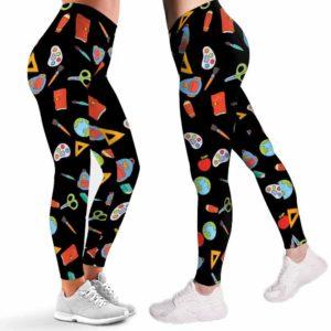 LEGG-W-Job-Atcr-SchoPtn-0 @ Teacher School Pattern-Art Teacher Leggings For Women. Proud Art Teacher Pattern Printed Leggings. Cute Women Leggings. Yoga Workout Leggings. Custom Leggings.