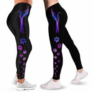 LEGG-W-Job-DogGrooFeatScis-Dgrm-0 @ Dog Groomer Feather Scissors-Proud Dog Groomer Furologist Leggings For Women. Pattern Printed Women Leggings. Feather Scissors Pattern. Yoga Workout Custom Gift.