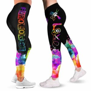 LEGG-W-Job-FuroWate-Dgrm-0 @ Furologist Watercolor-Proud Dog Groomer Furologist Leggings For Women. Watercolor Pattern Printed Women Leggings. Yoga Workout Custom Leggings Gift.