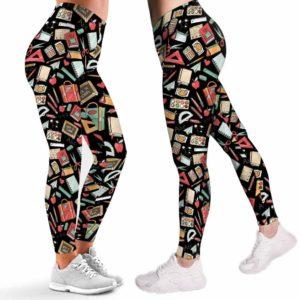 LEGG-W-Job-Tcer-SchoPtn-0 @ Teacher School Pattern-Teacher Leggings For Women. Proud Teacher Pattern Printed Leggings. Cute Teacher Women Leggings. Yoga Workout Leggings. Custom Leggings.