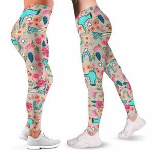 LEGG-W-Job-WatePinkFlow-Dgrm-0@ Dog Groomer Pink Flowers.jpg-Dog Groomer Dog Lovers Flower Leggings For Women. Workout Yoga Pattern Printed Women Leggings. Dog Mom Custom Gift. Furologist