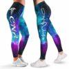 LEGG-W-Nur-CnaGlxy-CNA-0 @ CNA Caribien Blue and Purple Galaxy-Proud Cna Leggings For Women. Women Leggings. Caribien Blue And Purple Galaxy Pattern. Yoga Workout Custom Leggings Gift.