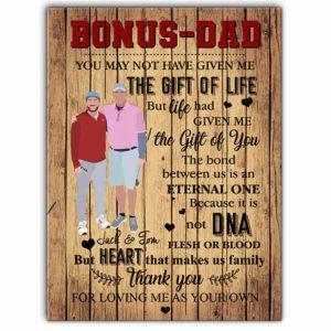 CAVA-U-Fami-BonuDad-F9-0 @ Family Bonus Dad Gift Of Life-Custom Bonus Dad Wall Art Print. Personalized Minimalist Digital Art Faceless Family Portrait Canvas. Gift For Bonus And And Son, Daughter.