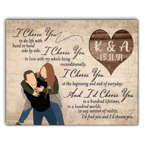 CAVA-U-Fami-Coup-F9-0 @ Family I Choose You To Do Life With Hand In Hand, Couple Wall Print, Housewarming Gift, Anniversary Gift For Her-Custom Couple Wall Art Print. Personalized Portrait Painting. Family Gift For Wedding, Anniversary, Valentine'S Day. Hand In Hand.