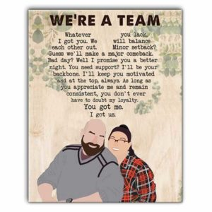 CAVA-U-Fami-CoupWeAreATeam-F9-0 @ Family Couple We Are A Team-Custom Couple Wall Art Print. Personalized Portrait Painting. Family Gift For Wedding, Anniversary, Valentine'S Day. We Are A Team.