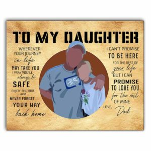 CAVA-U-Fami-DadToDaug-F9-0 @ Family Dad to Daughter-Custom To My Daughter Wall Art Print. Personalized Portrait Painting. Family Portrait. Gift From Dad To Daughter. Birthday, Christmas Gift.