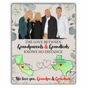 CAVA-U-Fami-GranAndGran-F9-0 @ The Love Between Grandparents And Grandkids Knows No Distance Personalized Canvas Print-Custom Long Distance Canvas Wall Art Print. Personalized State Map Poster. Gift From Grandparents To Grandkids. Love Knows No Distance.