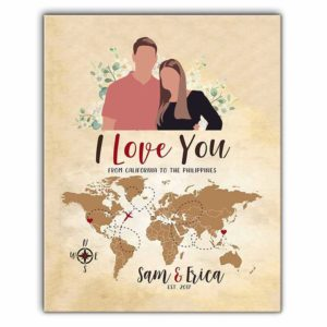 CAVA-U-Fami-ILoveYou-F9-0 @ Family Faceless Minimalist Portrait from Photo-Custom Long Distance Love Canvas Wall Art Print. Personalized Couple Portrait Map Poster. Gift For Wedding, Anniversary, Valentine'S Day.