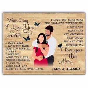 CAVA-U-Fami-ILoveYouMore-F9-0 @ Family I Love You More-Custom Couple Wall Art Print. Personalized Minimalist Digital Faceless Family Portrait Canvas. Anniversary, Valentine Gift. I Love You More.