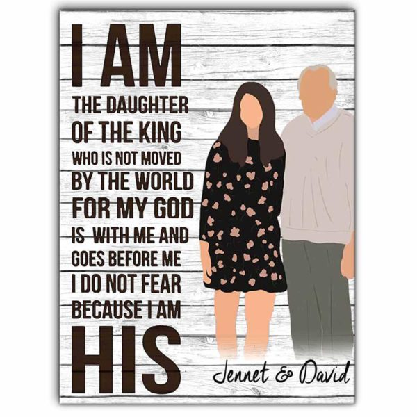 CAVA-U-Fami-KingDaug-F9-0 @ Family Daughter Of The King-Custom Father And Daughter Wall Art Print. Personalized Minimalist Digital Art Faceless Family Portrait Canvas. Father Day Gift For Dad.