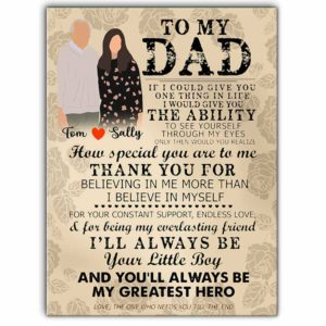 CAVA-U-Fami-MyDadMyGreaHero-F9-0 @ Family My Dad My Great Hero-Custom Father And Daughter Wall Art Print. Personalized Minimalist Faceless Family Portrait Canvas. Father Day Gift For Dad. Greatest Hero.