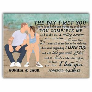 CAVA-U-Fami-OceaTheDayIMetYou-F9-0 @ Family Ocean The Day I Met You-Custom Couple Wall Art Print. Personalized Minimalist Faceless Family Portrait Canvas. Anniversary, Valentine Gift. The Day I Met You.