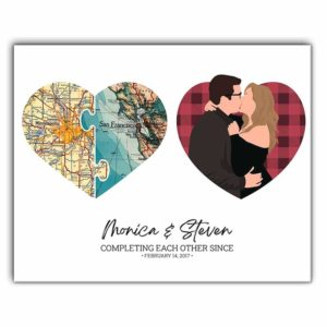 CAVA-U-Fami-PersHearMap-F9-0 @ Family Personalized Heart Map Print On Canvas, Valentines Day Gift, Long Distance Relationship Gifts-Custom Heart Canvas Wall Art Print. Personalized Couple Portrait. Long Distance Love. Gift For Valentine'S Day, Wedding, Anniversary.