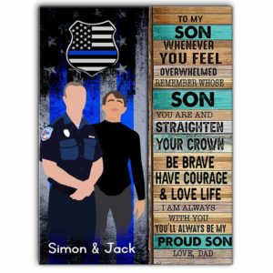 CAVA-U-Fami-PoliToMySon-F9-0 @ Family Police To My Son-Custom Father And Police Son Wall Art Print. Personalized Minimalist Digital Art Faceless Family Portrait Canvas. Gift For Son From Dad.