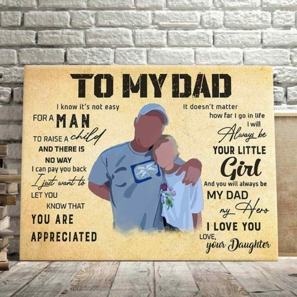CAVA-U-Fami-ToDadFromDaug-F9-0 @ Family To My Dad Canvas Gifts For Dad-Personalized To My Dad Wall Art Print. Custom Family Portrait Painting. Gift From Daughter To Dad. Father'S Day, Birthday, Christmas Gift.