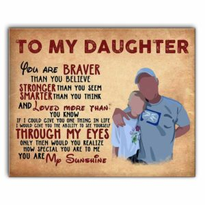 CAVA-U-Fami-ToDaug-F9-0 @ Family To My Daughter Poster, You Are My Sunshine Art-Personalized To My Daughter Wall Art Print. Custom Family Portrait. You Are My Sunshine Gift From Dad To Daughter. Birthday, Christmas Gift.