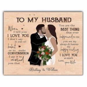 CAVA-U-Fami-ToHusb-F9-0 @ Personalized To My Husband Canvas, Valentine's Day Gift Canvas, Just Married Canvas, Anniversary Couple-Custom Couple Wall Art Print. Personalized Portrait Canvas. Gift For Husband. Wedding, Anniversary, Valentine'S Day Gift. To My Husband.
