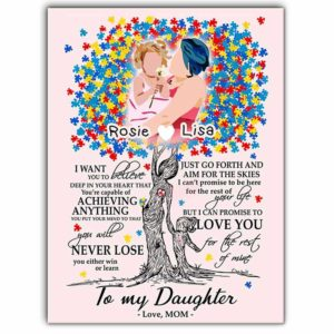 CAVA-U-Fami-ToMyDaugAuti-F9-0 @ Family Never Lose-Custom Autism Mom And Daughter Wall Art Print. Personalized Minimalist Faceless Family Portrait Canvas. Gift For Mother And Daughter.