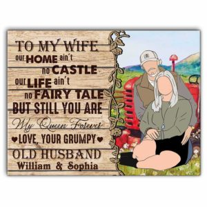 CAVA-U-Fami-ToMyWife-F9-0 @ Family Trucker My Home No Castle-Custom Trucker Old Couple Wall Art Print. Personalized Minimalist Faceless Family Portrait Canvas. Anniversary, Valentine Gift For Wife.