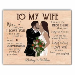 CAVA-U-Fami-ToWife-F9-0 @ Personalized To My Wife Canvas, Valentine's Day Gift Canvas, Just Married Canvas, Anniversary Couple Gift-Custom Couple Wall Art Print. Personalized Portrait Canvas Painting. Gift For Wife. Wedding, Anniversary, Valentine'S Day Gift. To My Wife.