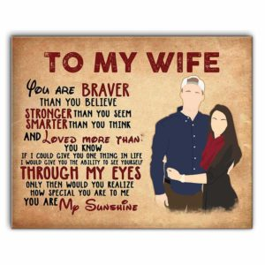 CAVA-U-Fami-ToWife-F9-1 @ Family To My Wife Poster, You Are My Sunshine Art Print, Perfect Gift For Wife, Wedding Gift, Vintage Canvas-Custom Couple Wall Art Print. Personalized Portrait Canvas Poster. Gift For Wife. Wedding, Anniversary, Valentine'S Day Gift. To My Wife.
