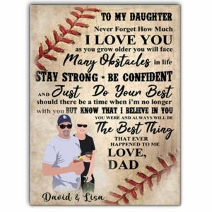 CAVA-U-Hobb-ToMyDaug-Bball-0 @ Baseball To My Strong Daughter-Custom Father And Daughter Baseball Wall Art Print. Personalized Minimalist Faceless Family Portrait Canvas. Dad Gift For Daughter.