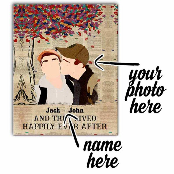 CAVA-U-Lgbt-GayCoupHappEverAfte-Lgbt-0 @ Lgbt Gay Couple Happily Ever After-Custom Lgbt Gay Couple Wall Art Print. Personalized Portrait. Family Gift For Wedding, Anniversary, Valentine'S Day. Happily Ever After.