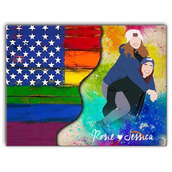 CAVA-U-Lgbt-LgbtLoveIsLove-Lgbt-0 @ LGBT Love Is Love-Custom Lgbt Lesbian Couple Wall Art Print. Personalized Faceless Family Portrait Canvas. Anniversary, Valentine Gift. Usa Flag Love Is Love.