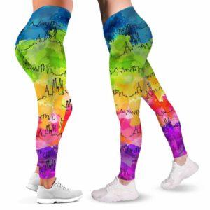 LEGG-W-Stt-BarcWate-Bcln-0 @ Barcelona Skyline Watercolor-Barcelona Love Leggings For Women. Skyline Watercolor Pattern Printed Women Leggings. Womens Leggings. Yoga Workout Custom Gift.
