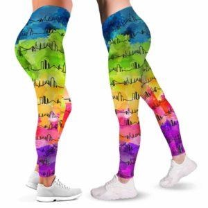LEGG-W-Stt-IstaWate-Itbu-0 @ Istanbul Skyline Watercolor-Istanbul Love Leggings For Women. Skyline Watercolor Pattern Printed Women Leggings. Womens Leggings. Yoga Workout Custom Gift.