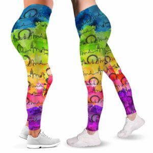 LEGG-W-Stt-LondWate-Ldon-0 @ London Skyline Watercolor-London Love Leggings For Women. Skyline Watercolor Pattern Printed Women Leggings. Womens Leggings. Yoga Workout Custom Gift.