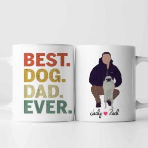 MUG-U-Dog-DogDad-Dog-1 @ Best Dog Dad-Personalized Dog Portrait Coffee Mug. Custom Dog Mug. Minimalist Digital Art Faceless Portrait. Gift For Dog Owners. Best Dog Dad Ever.