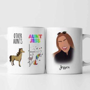 MUG-U-Fami-Aunt-F9-0 @ Family Other Aunt Vs My Aunt-Personalized Aunt Portrait Coffee Mug. Custom Family Mug. Digital Art Faceless Portrait. Gift For Aunt, Auntie. Other Aunts Vs My Aunt.