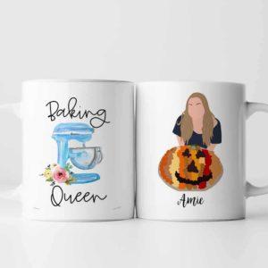 MUG-U-Fami-BakiQuee-F9-0 @ Family Baking Queen-Personalized Baking Queen Portrait Coffee Mug. Custom Family Gift For Mom, Aunt, Sister, Daughter, Wife. Digital Art Faceless Portrait Mug.