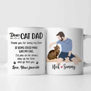 MUG-U-Fami-CatDadPiss-F9-0 @ Family Cat Dad Piss-Custom Cat Mug. Personalized Cat Portrait Coffee Mug. Minimalist Digital Art Faceless Portrait From Photo. Gift For Cat Lover, Cat Dad.