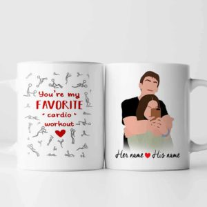 MUG-U-Fami-CoupFavCardPart-F9-0 @ Family Fav Cardio Partner-Personalized Couple Portrait Coffee Mug. Custom Family Mug. Minimalist Faceless Portrait. Anniversary, Valentine Gift. Cardio Partner.