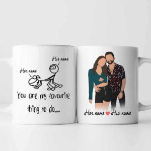 MUG-U-Fami-CoupFavThinToDo-F9-0 @ Family Fav thing To Do-Personalized Couple Portrait Coffee Mug. Custom Family Mug. Minimalist Faceless Portrait. Anniversary, Valentine Gift. Favorite Thing To Do.