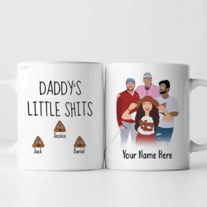MUG-U-Fami-DaddLittShit-F9-0 @ Family Daddy Little Shit-Personalized Father Coffee Mug. Custom Family Mug. Digital Art Faceless Drawing From Photo. Father Day Gift For Dad. Daddys Little Shit.